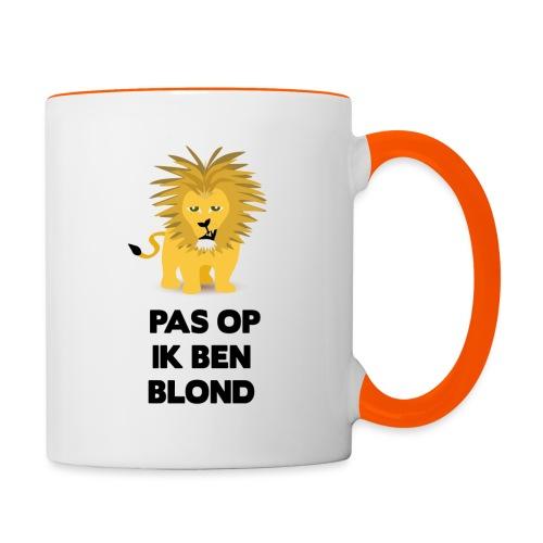 Pas op ik ben blond een cartoon van blonde leeuw - Mok tweekleurig