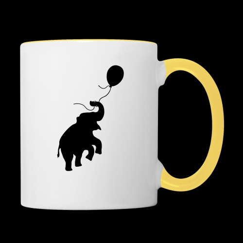 Elefant mit Ballon - Tasse zweifarbig