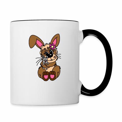 Hase kuscheln - Tasse zweifarbig