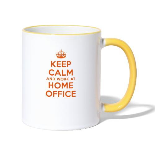 KEEP CALM and work at HOME OFFICE - Tasse zweifarbig