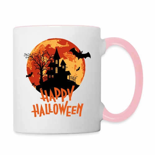 Bloodmoon Haunted House Halloween Design - Tasse zweifarbig