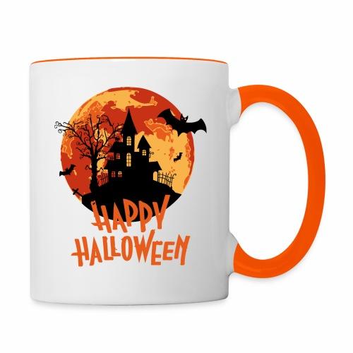 Bloodmoon Haunted House Halloween Design - Tasse zweifarbig