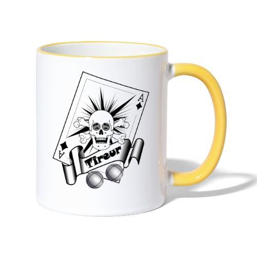t shirt petanque tireur crane rieur carreau boules - Mug contrasté
