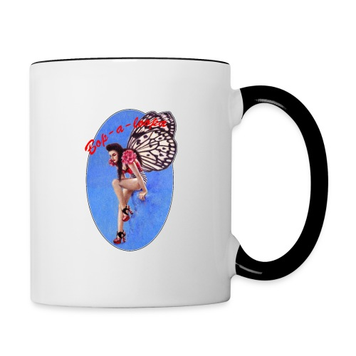 Vintage Rockabilly Butterfly Pin-up Design - Contrasting Mug