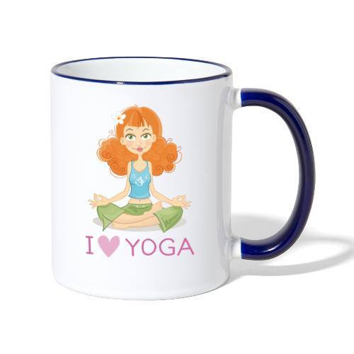Yoga Lotus Pose Cartoon Girl - Tasse zweifarbig