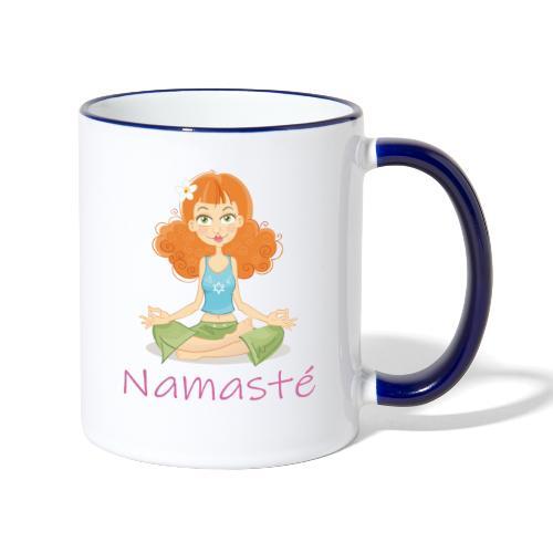 Namaste Cheerful Yoga Girl - Tasse zweifarbig