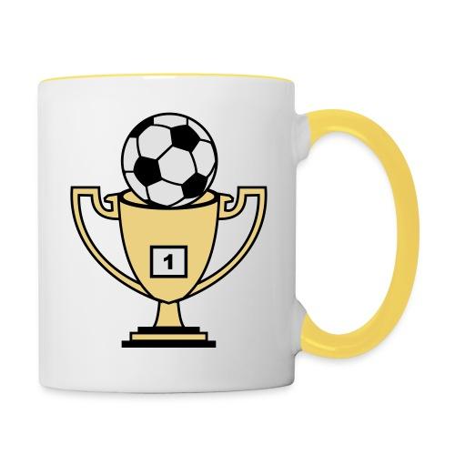 Pokal mit Fussball - Tasse zweifarbig