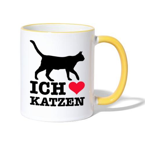 Ich liebe Katzen mit Katzen-Silhouette - Tasse zweifarbig