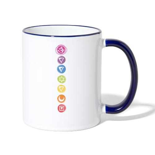 7 Chakras Kundalini Energiesymbole - Tasse zweifarbig