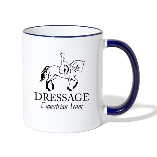 Dressursport Pferd und Reiterin Design - Tasse zweifarbig