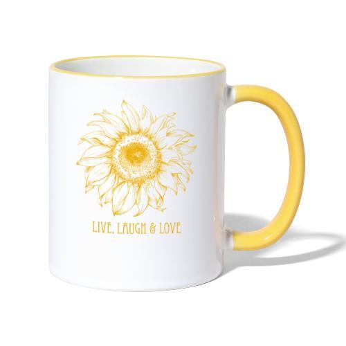 Sonnenblume Zeichnung - Tasse zweifarbig