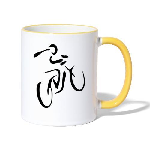Fahrrad Symbol D schwarz - Tasse zweifarbig