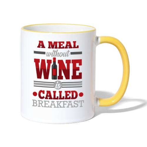 Food requires wine - Funny wine gift idea - Contrasting Mug