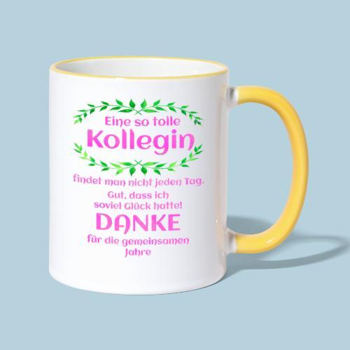 Danke - Kollegin - Geschenk - Arbeit - Büro - Job - Tasse zweifarbig