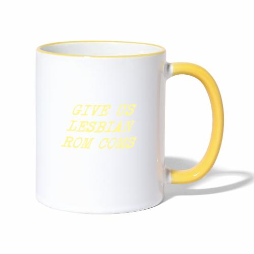 Give Us Lesbian Rom Coms - yellow - Contrasting Mug