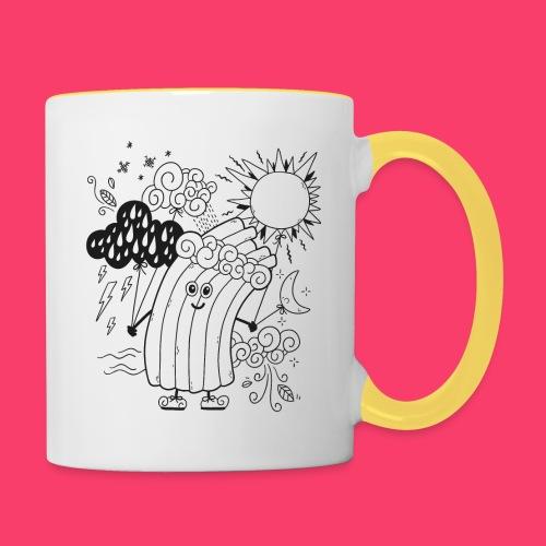 Rudi Regenbogen Wetter-Motiv zum Ausmalen - Tasse zweifarbig
