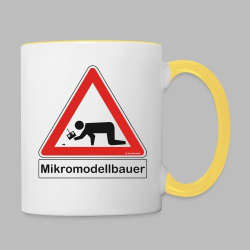 Warnschild Mikromodellbauer Auto - Tasse zweifarbig