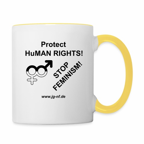 Protect HuMAN Rights - Stop Feminism - Tasse zweifarbig