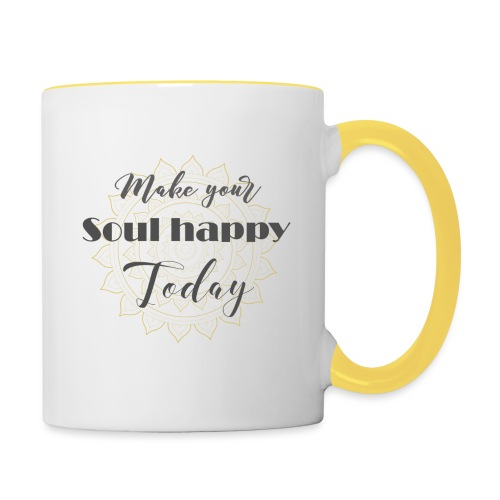 Make your soul happy today - grey mandala - Tasse zweifarbig