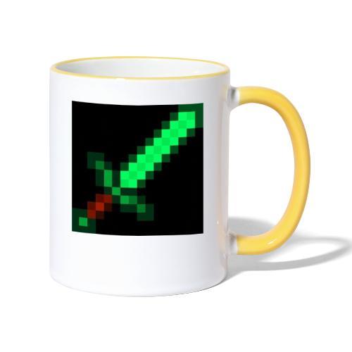 green emerald MCPE sword - Contrasting Mug