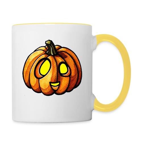 Pumpkin Halloween watercolor scribblesirii - Contrasting Mug