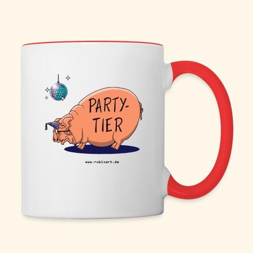 Partytier Schwein Fete Feier Party Sau - Tasse zweifarbig