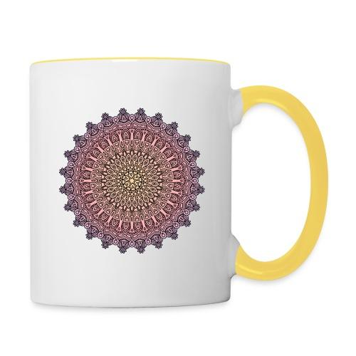Mandala Sonnenuntergang - Tasse zweifarbig