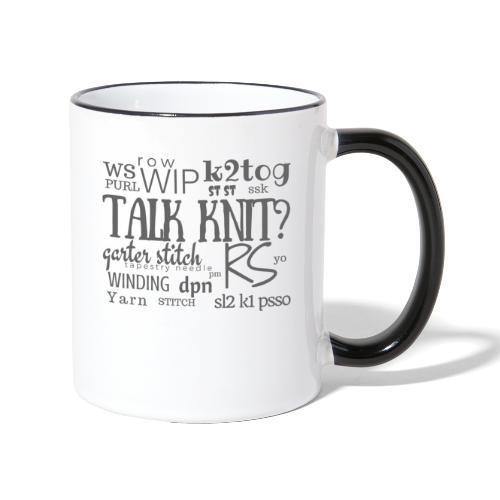 Talk Knit ?, gray - Contrasting Mug