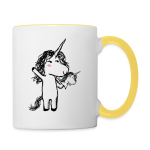 Unicorn with his happy friend - Contrasting Mug