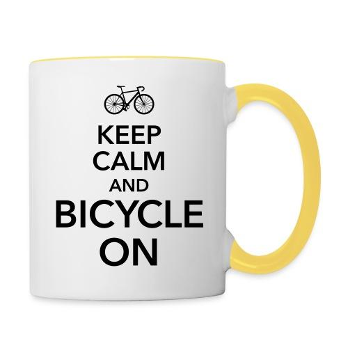keep calm and bicycle on Fahrrad Drahtesel Sattel - Contrasting Mug