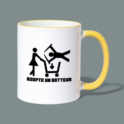 Adopte un batteur - idee cadeau batterie - Mug contrasté