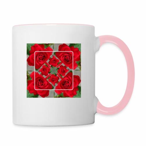Rose Design - Tasse zweifarbig