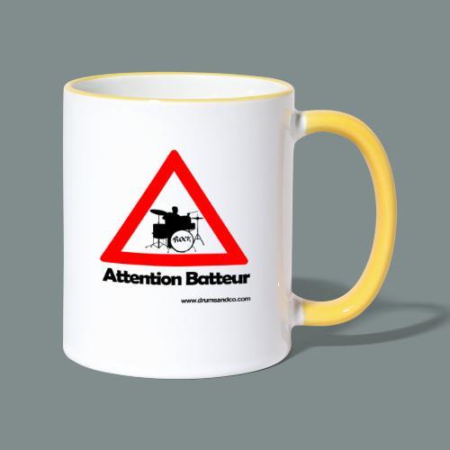 Attention batteur - cadeau batterie humour - Mug contrasté