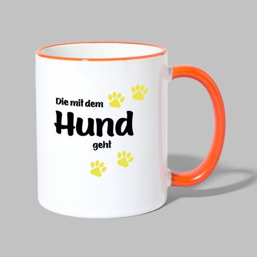Die Mit Dem Hund Geht - Edition Colored Paw - Tasse zweifarbig