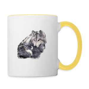 wolf and forest - Taza en dos colores