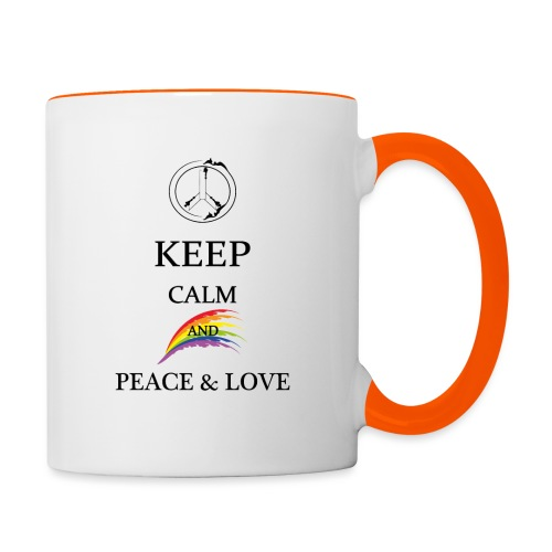 keep calm and Peace & Lov - Tazze bicolor