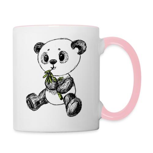Panda bjørn farvet scribblesirii - Tofarvet krus