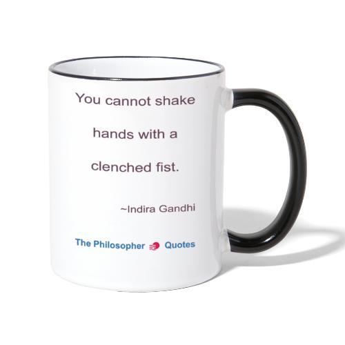Indira Gandhi Shake hands b - Mok tweekleurig
