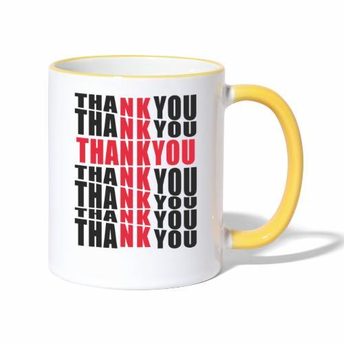 Motyw z napisem Thank You - Kubek dwukolorowy