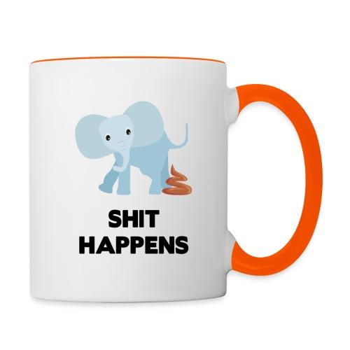 olifant met drol shit happens poep schaamte - Mok tweekleurig