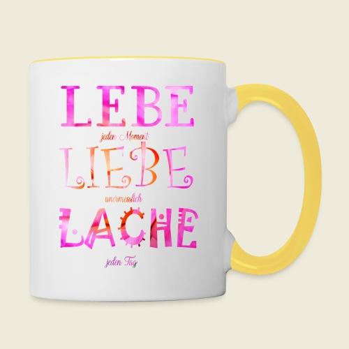 Lebe Liebe Lache pink rosa - Tasse zweifarbig