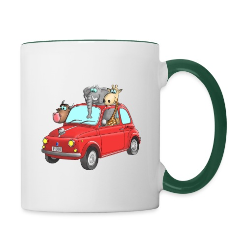 Giraffe - Elefant - Bulle im Auto Kinder - Tasse zweifarbig