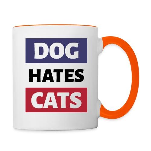 Dog Hates Cats - Tasse zweifarbig