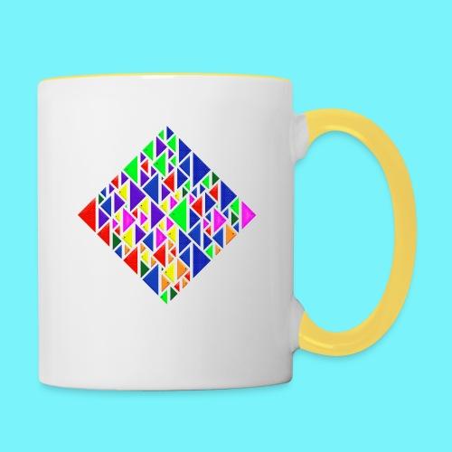 A square school of triangular coloured fish - Contrasting Mug
