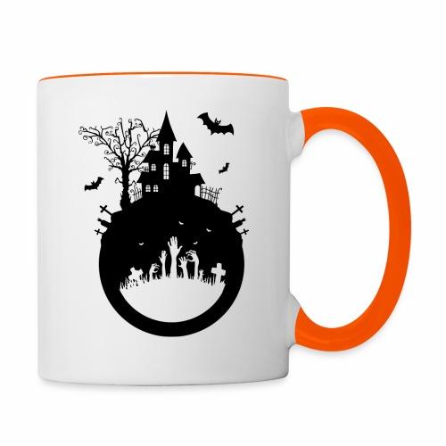 Haunted House - Halloween Design - Tasse zweifarbig