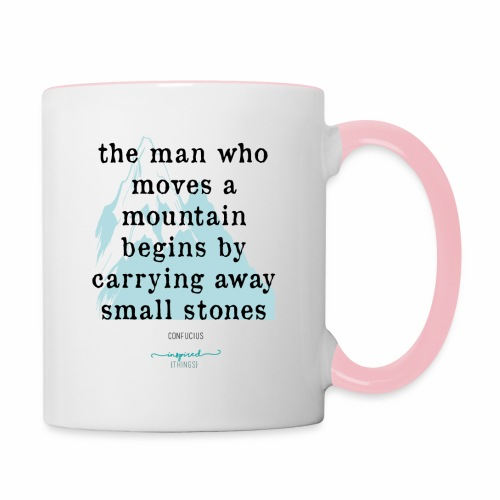 Confucius` Quote - The man who moves a mountain - Contrasting Mug