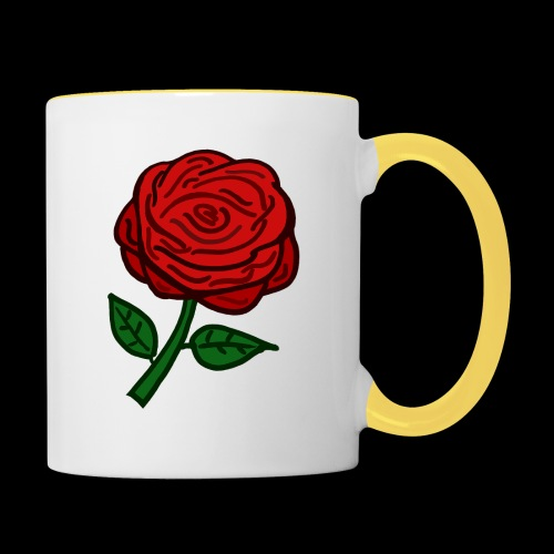 Rote Rose - Tasse zweifarbig