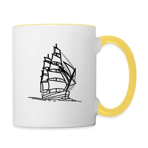 Segelschiff Illustration Meer Schiff Bootsfahrt - Tasse zweifarbig
