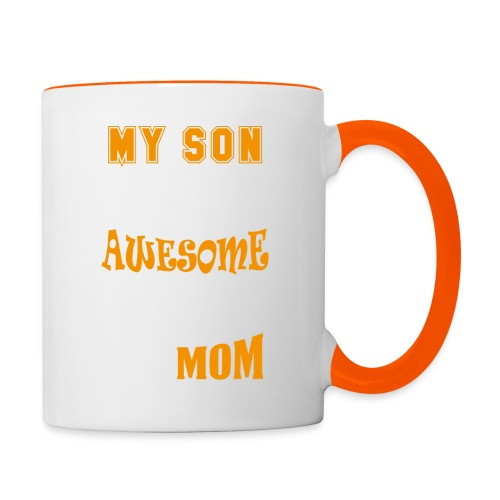 My Son Is Super Awesome His Mom - Contrasting Mug