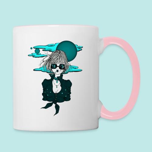 Femme manga rock avec lunettes de soleil - Mug contrasté